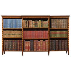 Edwardian Mahogany Satinwood Banded and Marquetry Open Bookcase