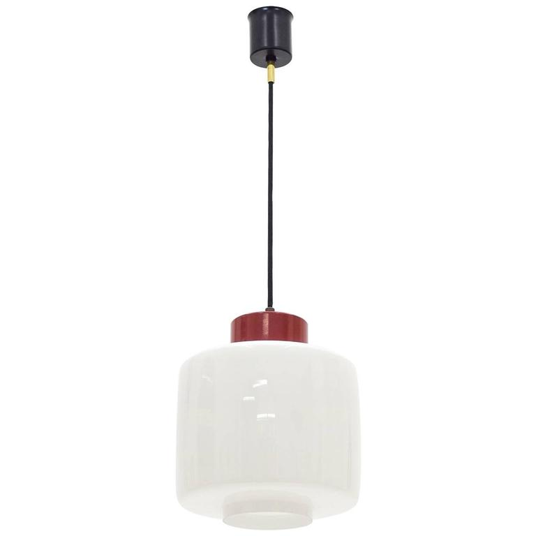 Stilnovo Glass and Lacquered Aluminum Pendant, 1950s For Sale