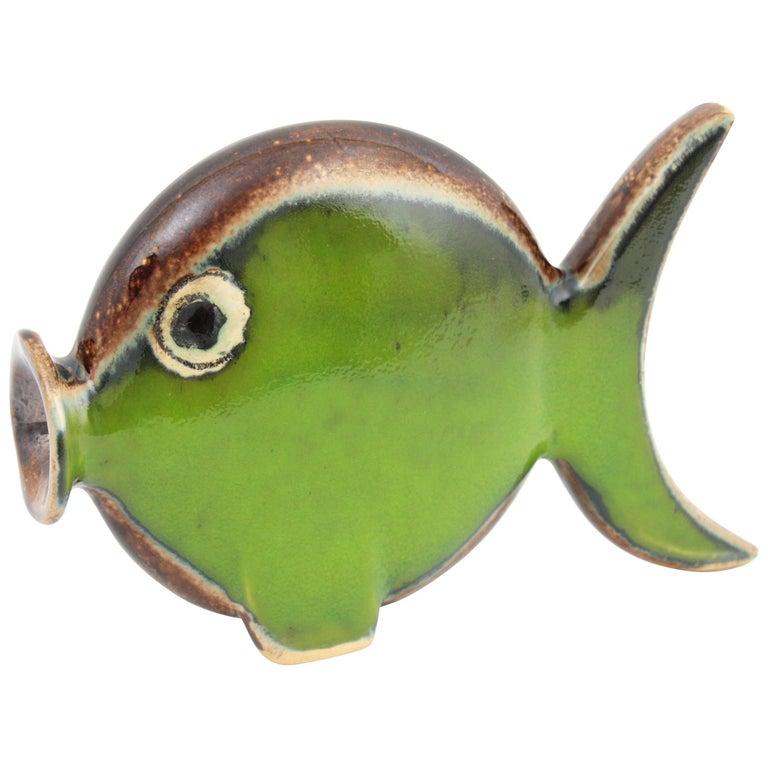 Spanish 1950s Glazed Ceramic Green Fish Figurine For Sale