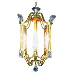 Banci Firenze Crystal and Leaf-Gilded Iron Cage Four-Light Lantern, Italy, 1980