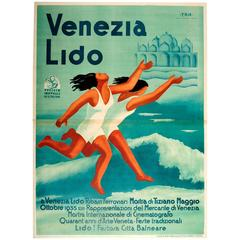 Original Vintage Poster for the 1935 Art and Film Festival Events at Venice Lido