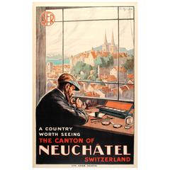 Original Vintage SFR Swiss Railway Poster for Neuchatel Featuring a Watch Maker