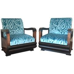Pair of Art Deco Club Chair with Turqueoise Velvet by Lizzo, Italy