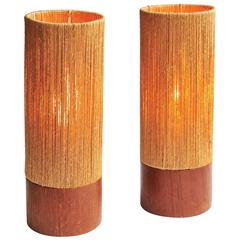 Pair of Teak and Rope Table Lamps