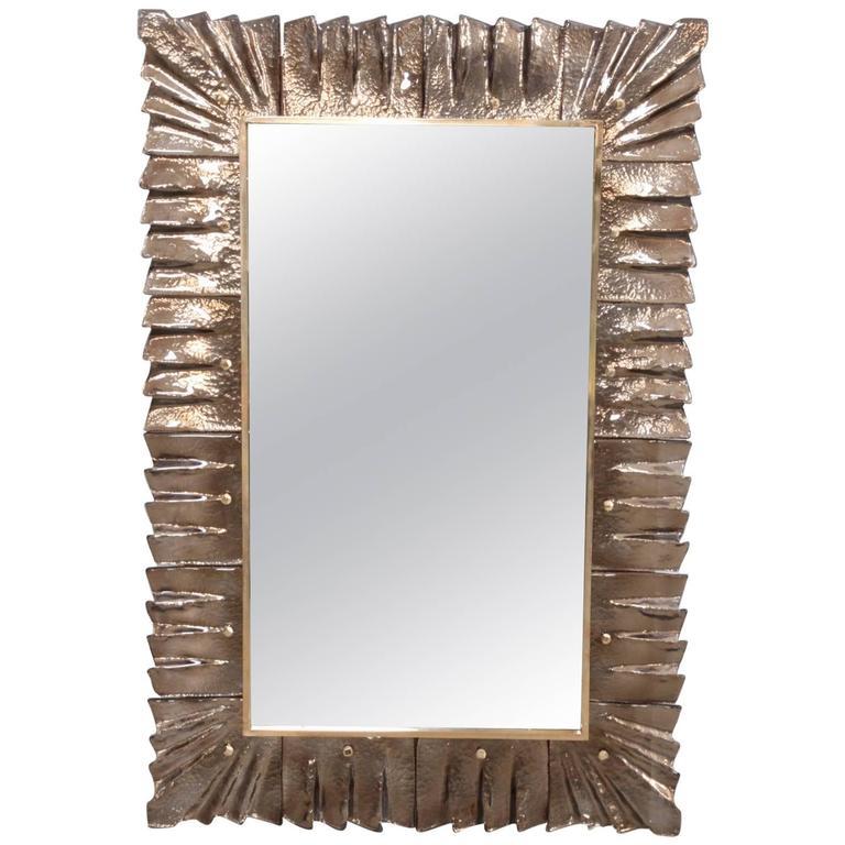 1 of 2 Huge Brass and Bronze Murano Glass Mirror