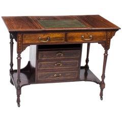 Edwardian Inlaid Writing Table Desk 19th C