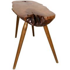 Mid-Century Wood Slab Console Table