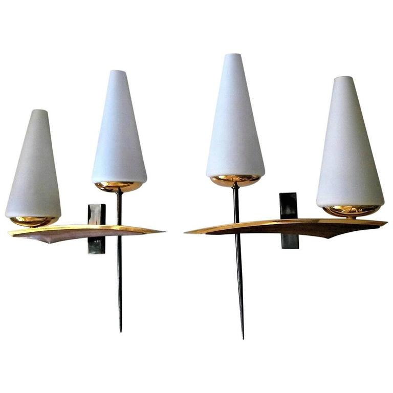 Pair of Double Sconces, French Mid-Century Modern by Maison Arlus