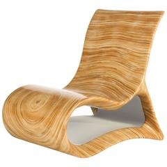 Modern Wooden Altoum Chair in Bright Finish Inspired by Op Art 2014
