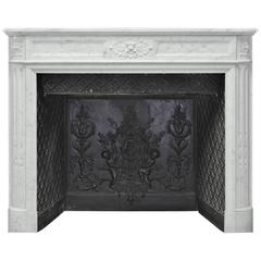 Antique Louis XVI Style Fireplace in Carara Marble, 19th Century, Paris, France