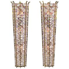 Magnificent Pair of Large Italian Mid-Century Modern Sconces, 1970s