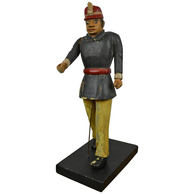 Wooden Fireman Sculpture Early 20th Century