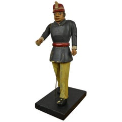 Folk Art Wooden Fireman Sculpture, Early 20th Century