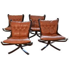 Cognac Falcon Chair Set of Four Vatne Mobler Norway