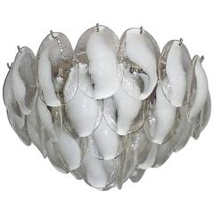 Signed Lotus Flower White Murano Glass Chandelier by Carlo Nason for Mazzega