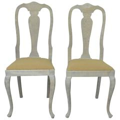 Pair of Antique Gustavian Style Limed Oak Side Chairs