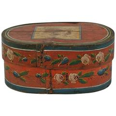 19th Century Dutch Folk Art Painted Bentwood Box