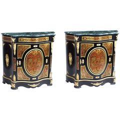 Vintage Pair of Louis XVI Marble Serpentine Boulle Pier Cabinets