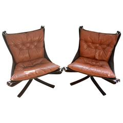 Cognac Falcon Chair Pair Sigurd Ressell Norway