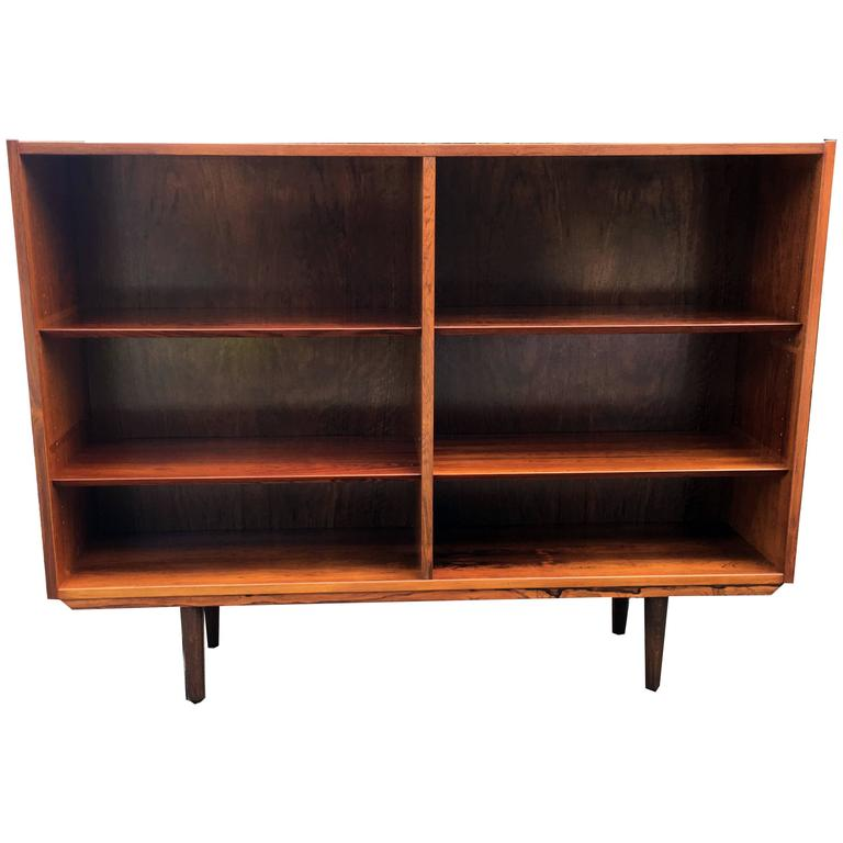 Danish Rosewood Open Bookcase with Adjustable Shelves Probably by Poul Hundevad