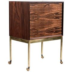 Scandinavian Mid-Century Bar Cabinet in Rosewood and Brass