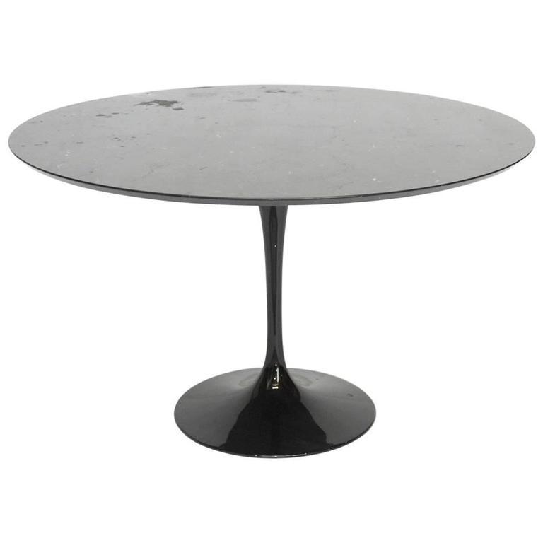 MidCentury Black Marble Eero Saarinen Design Tulip Dining Table At - Black marble saarinen table