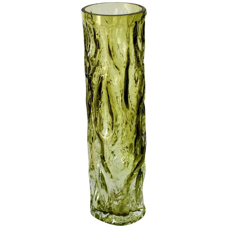 Tall Vintage Vibrant Green Glass Tree Bark Vase by Ingrid Glas, circa 1970s