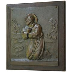 Stunning Bronze Wall Plaque in Relief of Christ Praying on the Mount of Olives