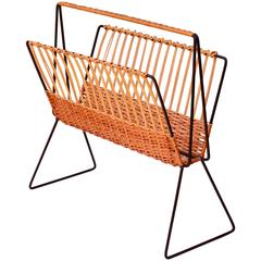 Large Mid-Century Modernist Wicker Magazine Rack Stand Attributed to Carl Auböck