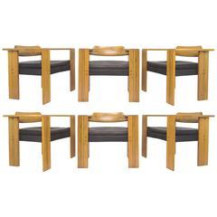 "Afra and Tobia Scarpa Set of Six Italian ""Artona"" Dining Chairs, circa 1970s"