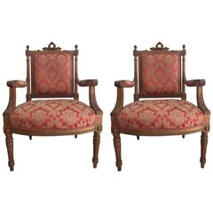 Two Early 20th Century Italian Fauteuil Armchairs