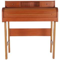 Danish Mid-Century Modern Teak Roll Top Secretary Desk or Console Table