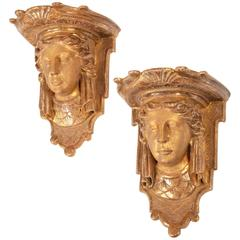 Pair of George I Palladian Carved Giltwood Wall Brackets