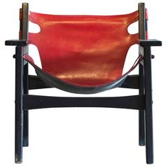 Sergio Rodrigues Red Leather 'Kilin' Lounge Chair