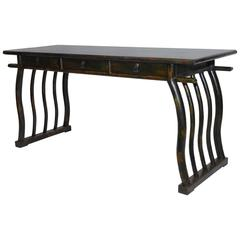 Chinese Lacquered Desk with Serpentine Legs