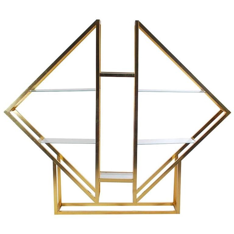 Hollywood Regency Diamond Form Brass Wall Unit or Étagère after Romeo Rega For Sale