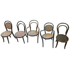 Thonet  bentwood Collection of Five   different Children's Chairs, circa 1900