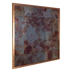 Contemporary Made to Measure Copper Foil Framed Aged Effect Mirror