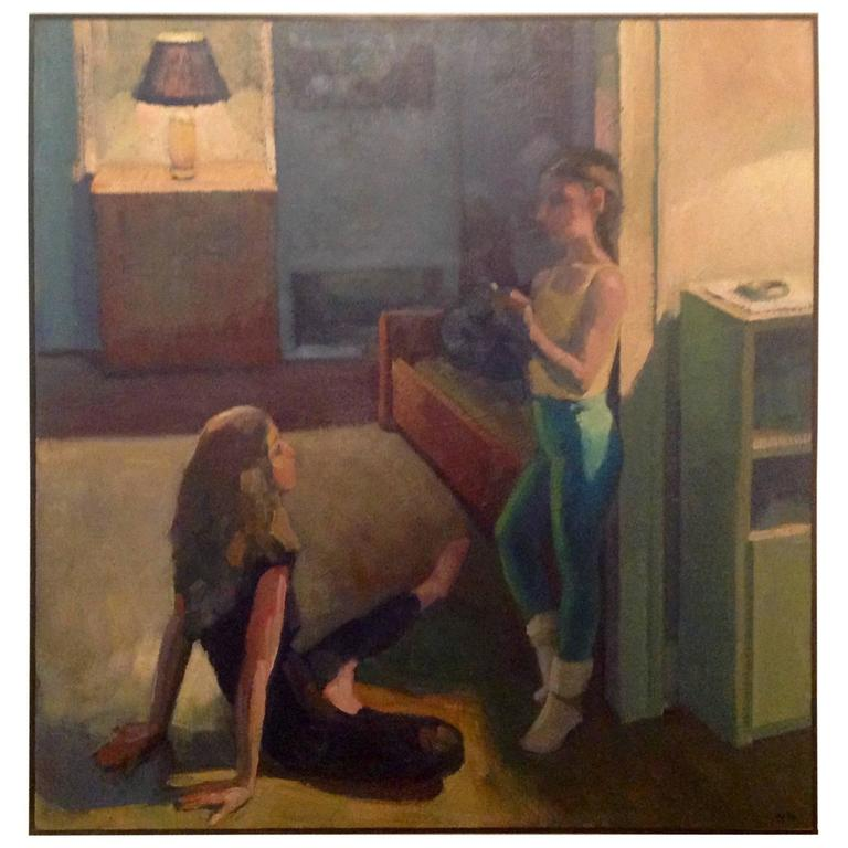 "New York Artist Don Wynn Signed and Dated Oil on Canvas ""Dancers Resting"" 1986"