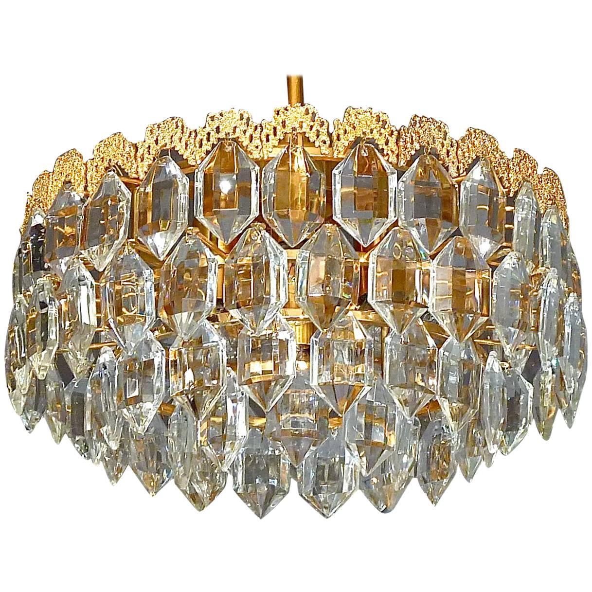 Midcentury Bakalowits Chandelier Gilt Brass Faceted Crystal Glass Austria 1960s