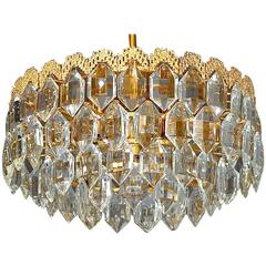 Brutalist Style Gilt Brass Crystal Glass Chandelier by Bakalowits, Austria 1960s