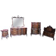 Six Pieces Louis XV Style Mahogany Bedroom Set