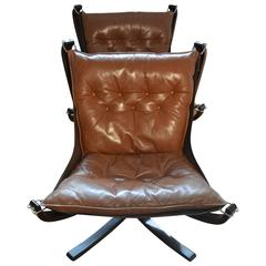 Brown Falcon Chair Pair with Patina