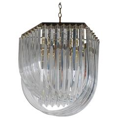 Hollywood Regency Brass and Curved Lucite Chandelier, Mid-Century Italian Modern