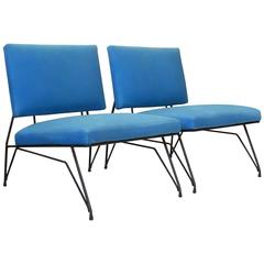 Elegant Pair of Modernist Armchairs, I Lush Blue Upholstery