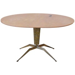 Italian Mid-Century Modern, Oval Marble and Brass Side Table from the 1940s