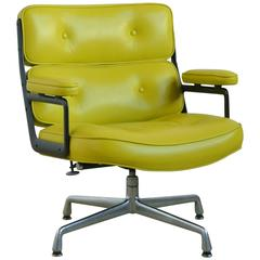Eames Time-Life Chair with Green Leather by Herman Miller