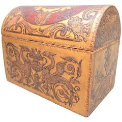 Belgian Art Nouveau Gilt and Painted Embossed Leather Box Dated 1912