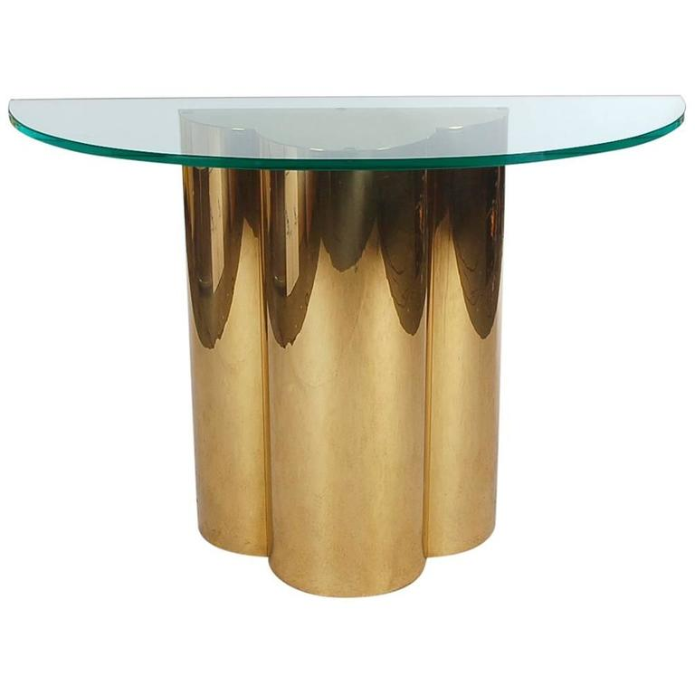 Hollywood Regency Brass and Glass Trefoil Console Table Attributed to C. Jere For Sale