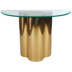 Hollywood Regency Brass and Glass Trefoil Console Table Attributed to C. Jere